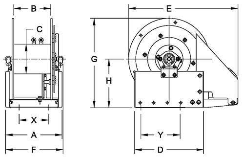 Dimensions for EF2500 Series