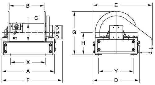 Dimensions for ELFCR1600 Series